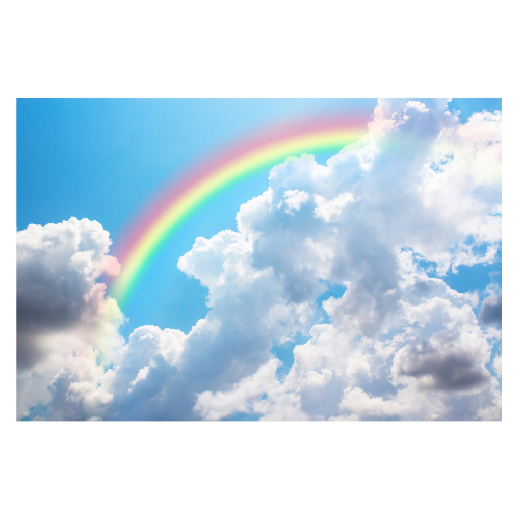 Sky With Rainbow And Clouds